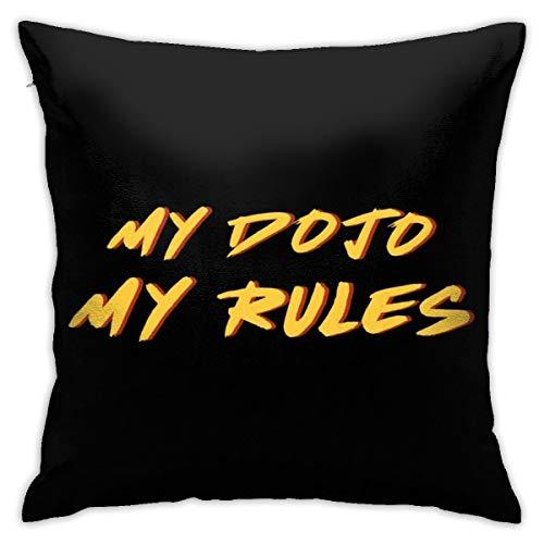 HONGYANW My Dojo My Rules Cobra Kai Karate Kid Funda de almohada doble cara, funda de almohada con cremallera oculta, hermosa funda de almohada con patrón impreso de 45,7 x 45,7 cm