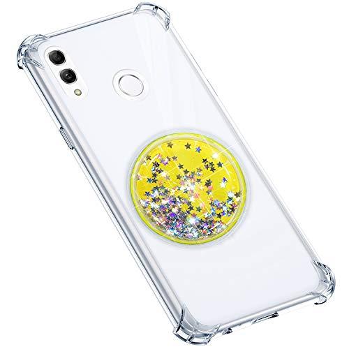 Uposao Compatible avec Coque Huawei P Smart 2019 Coque en Silicone Transparent Cute Motif Glitter Luxe Bling Paillette Etoiles Liquide Cristal Clair Ultra Fine Souple Gel TPU Bumper,Citron