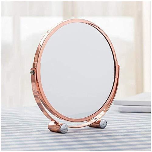 Auoeer Espejo De Maquillaje De Tocador De Tocador con Tabletop con Mesa De Vanidad Giratoria De Dos Caras De Baño Espejo De Vestir De Baño (Oro Rosa)