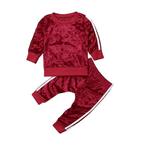 Bebé Niños Traje Invierno 2 Piezas Conjunto para Recién Nacido Camiseta + Pantalones de Terciopelo Chándal Ropa Deportivo en Casa para Bebés (6 Meses - 5 Años)