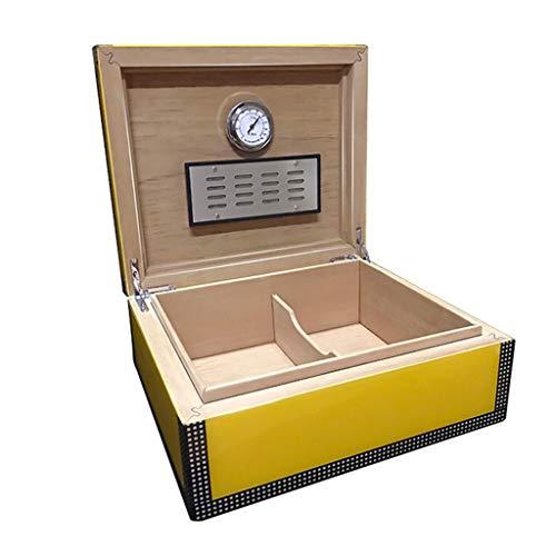 Rangements 50 Caves À Cigares Humidificateur Cedarwood Boîte À Cigares Boîte De Rangement Pour Cigares Equipé D'un Humidificateur Et D'un Thermomètre (Color : Yellow, Size : 28 * 24 * 12cm)