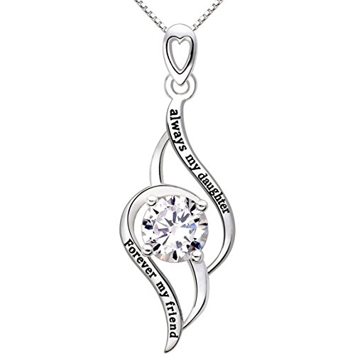 ALOV Jewelry Sterling Silver 'always my daughter forever my friend' Love Cubic Zirconia Pendant Necklace