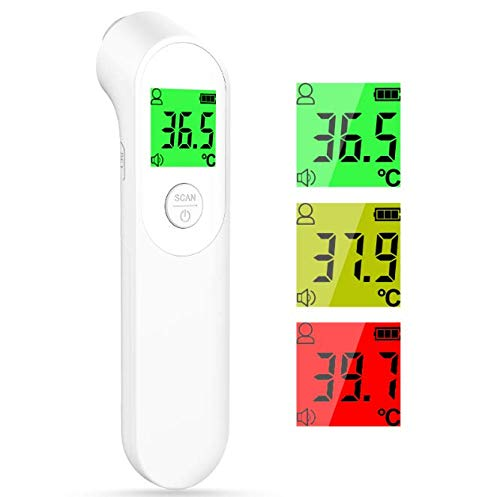Fieberthermometer, Infrarot Fieberthermometer Kontaktlos Digitales Stirnthermometer mit Dreifarbigem Alarm, 1s Read, Körper- und Objektmodus, Akkurates Thermometer für Babys, Erwachsene, Älteste