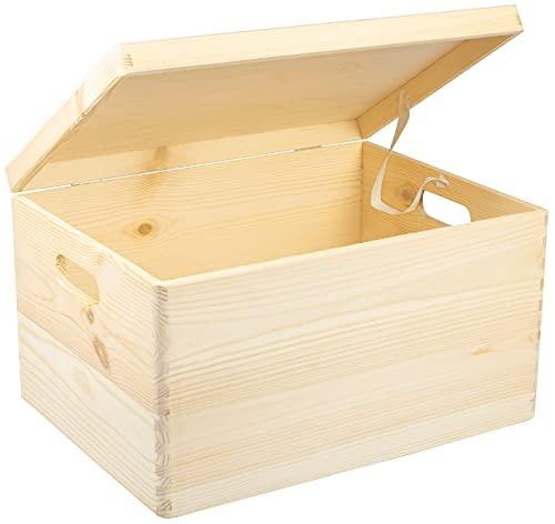 LAUBLUST Große Holzkiste Deckel und Griffe - 40x30x24cm, Natur, FSC®   Allzweck-Kiste aus Holz - Aufbewahrungskiste   Geschenk-Verpackung   Deko-Kasten zum Basteln   Spielzeug-Truhe   Erinnerungsbox