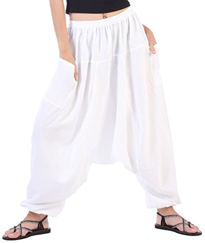 CandyHusky's Men Women 100% Cotton Baggy Boho Yoga Harem Pants (White) one size fits most