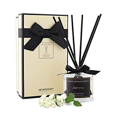 NEVAEHEART Reed Diffuser | 3.4oz(100ml) Jasmine Scented Reed Diffuser Set | Oil Diffuser & Scented Sticks | Room Freshener Home Decor & Office Decor | Room Fragrance Reed Diffuser Set with Gift Box