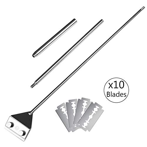 SunGrow Aquarium Dirt Remover with 10 Blades, 25 Inches Total Length, Long Handheld Handle, Keep Hands Dry, Sharp Safety Replaceable Blade, Frequent Tank Maintenance