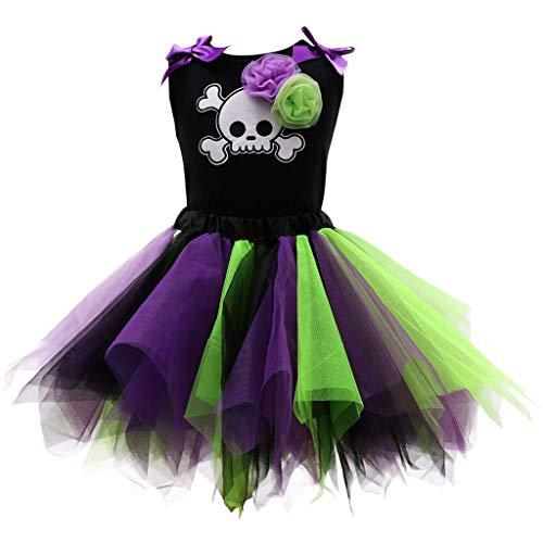 Niña Halloween Vestido Conjunto de Vestido, Cráneo Chaleco y Falda de Tul Disfraz Trajes 5-6 Años