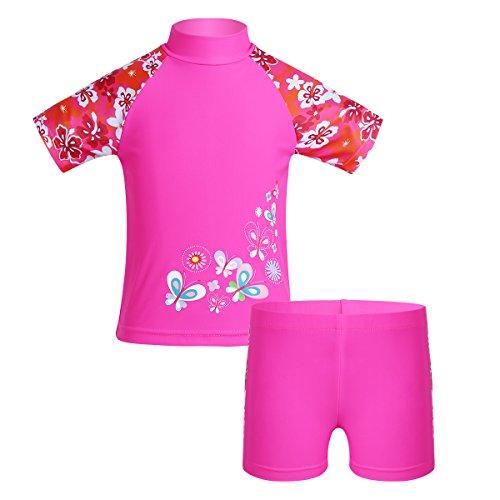 Freebily Costume da Bagno Bambina Costumi a Due Pezzi Ragazza Tankini Costume Intero Bikini Costumi Mare Bambina Intero Mare Piscina Nuoto Protezione Solare 50 Rosa Shocking 5-6 Anni