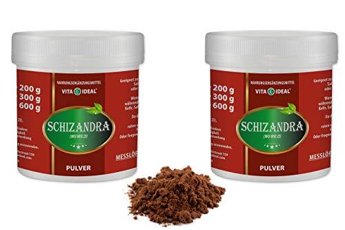 VITAIDEAL ® Schisandra Beeren PULVER 2x300g (Schizandra, Wu Wei Zi) + Messlöffel von NEZ-Diskounter