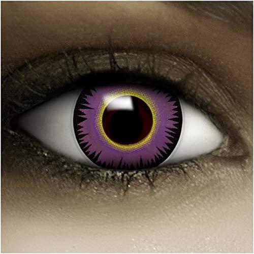 Farbige lilane Kontaktlinsen Maniac + Kunstblut Kapseln + Behälter von FXCONTACTS®, weich, ohne Stärke als 2er Pack - perfekt zu Halloween, Karneval, Fasching oder Fasnacht