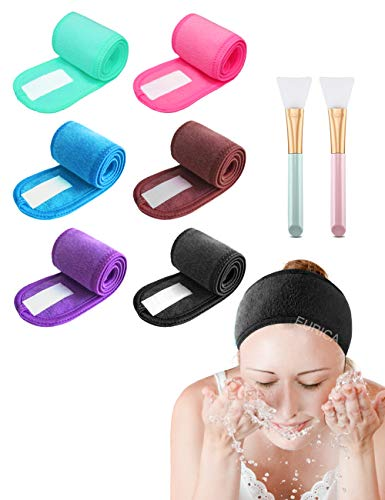 Spa Headband Hair Wrap Pack of 6 with 2 Mask Brushes EUICAE Hair Towel Non-slip Stretchable Washable Makeup Headband for Face Wash Facial Treatment Sport Bright Colors (Mixed color)