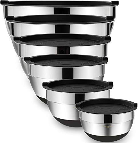 Mixing Bowls with Airtight Lids,6 piece Stainless Steel Metal Nesting Storage Bowls by Umite Chef, Non-Slip Bottoms Size 7, 3.5, 2.5, 2.0,1.5, 1QT, Great for Mixing & Serving(Black)
