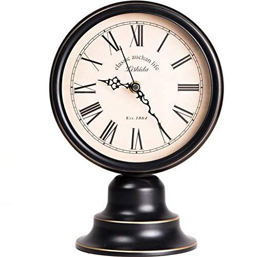 O&YQ Horloge de Table de Comptoir Horloge en Métal Muet Salon Chambre Chevet Horloge de Table Rétro Noir Il S'Applique à Pour les Familles Bureaux Ect