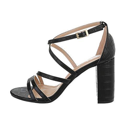 Ital-Design Damenschuhe Sandalen & Sandaletten High Heel Sandaletten, Y662-, Kunstleder, Schwarz, Gr. 39