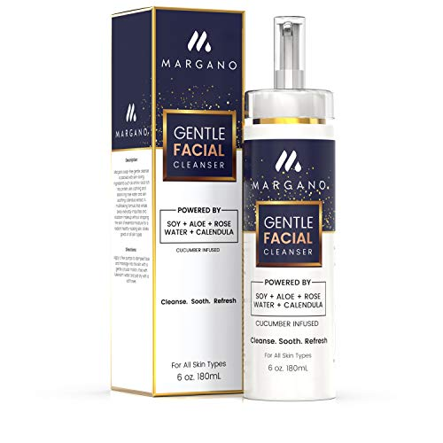 Gentle Facial Cleanser w/Moroccan Rose Water, Calendula, Aloe  Great for Dry, Sensitive and Combination Skin. Face Wash, Acne Defense,Anti-Breakout, Blemishes   6oz.