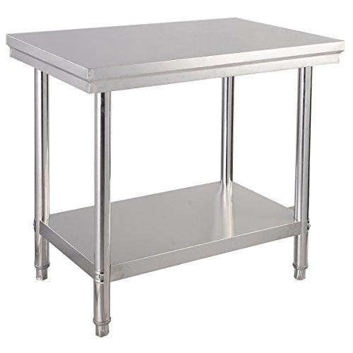 COSTWAY Edelstahl Küchentisch Arbeitstisch Gastro Tisch Edelstahltisch Zubereitungstisch mit Zwischenbord (92x61x90cm)