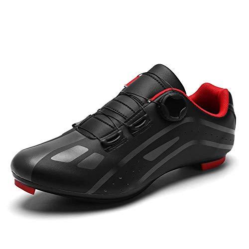 Zapatos de ciclismo para hombre con encaje rápido compatible SPD Cleats MTB Spin Indoor Ciclismo Zapatos al aire libre, color Negro, talla 46 EU