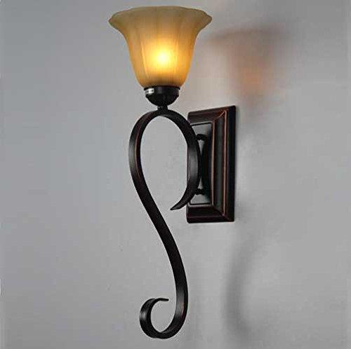 5151BuyWorld style européen Une seule fleur Applique Noir Métal Mounted Porche Lit verre Chevet Chambre [Blanc]