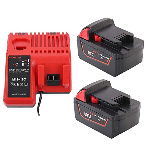 2 Batería 18V 5,0Ah con Ccargador M12-18C para Milwaukee M18/18V 4932430063, C18B, Li18, M18, M18B, M18B2, M18B4, M18BX 48-11-1811