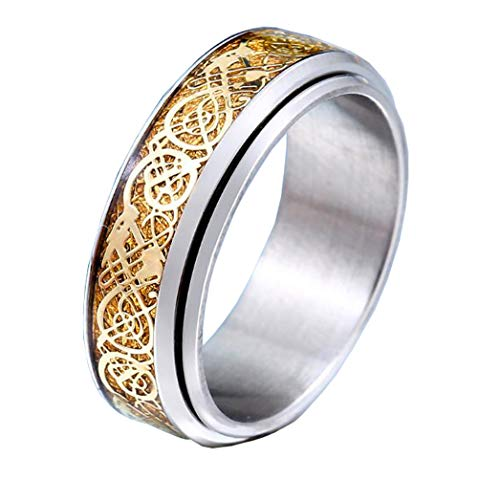 HIJONES Unisex Carbide Fiber Celtic Dragon Spinner Ring Stainless Steel Wedding Spins Band Silver Gold Size 7