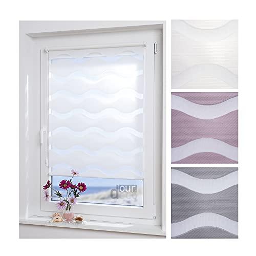 ourdeco® Doppel-Rollo, Duo-Rollo / 80 x 150 cm in Wellenform Wave weiß/lichtdurchlässig, Blickdicht/Klemmen=Montage ohne Bohren=Smartfix=Klemmfix=Easy-to-fix