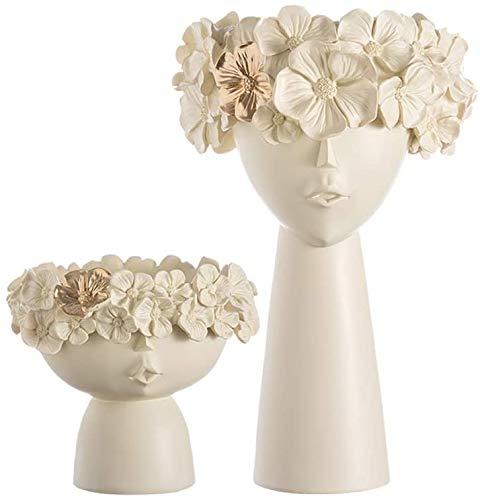 NOBLJX Maceta de Resina con Forma de Cabeza Creativa - Soporte Moderno para macetas de esculturas, jarrón con arreglo de Flores y Hadas para el día de la Madre para Decoraciones de Mesa en casa