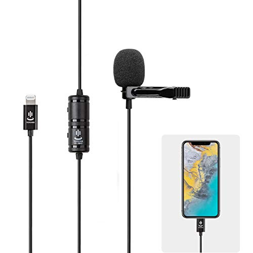 6 metros Microfono de Solapa para iPhone,Condensador Omnidireccional Externo Lavalier Micrófono para iPhone 12 Pro Max/11/8/7/6/5/X/XS/XR,YouTube,Grabación Entrevista,Videoconferencia,Podcast