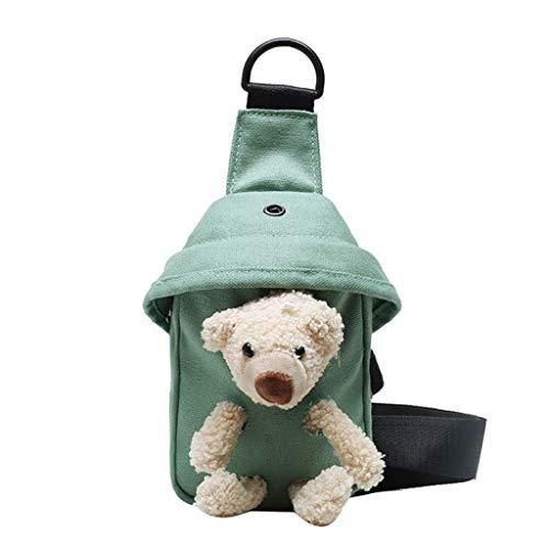 Linda bolsa de lona de urso selvagem no peito da moda para todas as ocasiões carteiro feminina casual verde diário