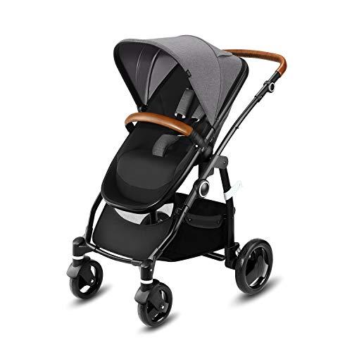 Cbx Leotie Lux - Cochecito con asiento reversible y capazo para recién nacidos, incluye cubierta para lluvia, desde el nacimiento hasta los 15 kg, Comfy Grey