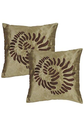 Set indiano di 2 Cuscino Designer Brown 16X16 Polydupion cuscini casi da Rajrang