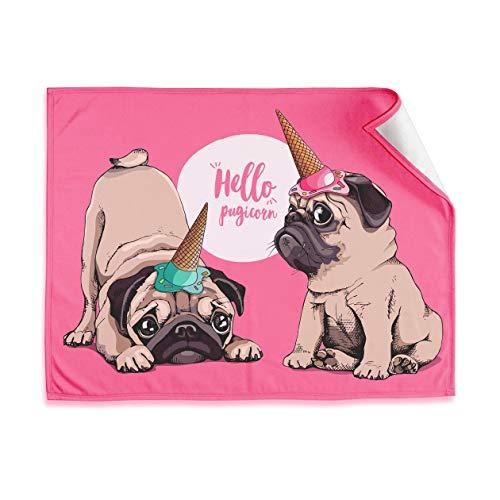 SJ Love Mops-Decke, niedliche Überwurfdecke, 50 x 68 cm, Mops-Fleecedecke, Geschenkidee 'Hello Pugicorn' – die bequeme, weiche und leichte niedliche Decken für Mädchen
