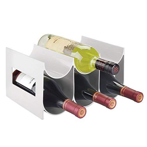 mDesign Práctico Estante para Botellas de Vino y Otras Bebidas – Botelleros para Vino de plástico con Capacidad para hasta 6 Unidades – Vinoteca de plástico de pie – Gris Claro