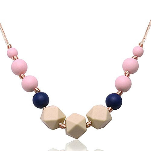 Aokarry Silicone Baby Teething Necklace for Mom Irregular Squares and Beads Beige Chain Length: 80CM