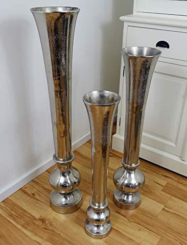 Michael Noll Vase Blumenvase Gefäß Pokalvase Dekovase Aluminium Silber Bodenvase Modern für Kunstblumen und Pampasgras - S 69,5 cm M 80 cm L 99 cm (14.5x14.5x69.5)