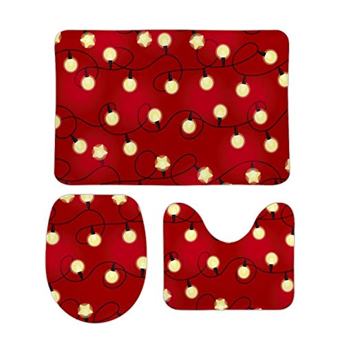 Cute Bathroom Mats 3 Pieces Set Christmas Light Bulbs Pattern Soft Absorbent Toilet Seat Cover Bath Mat Lid Cover, 3Pcs/Set Rugs
