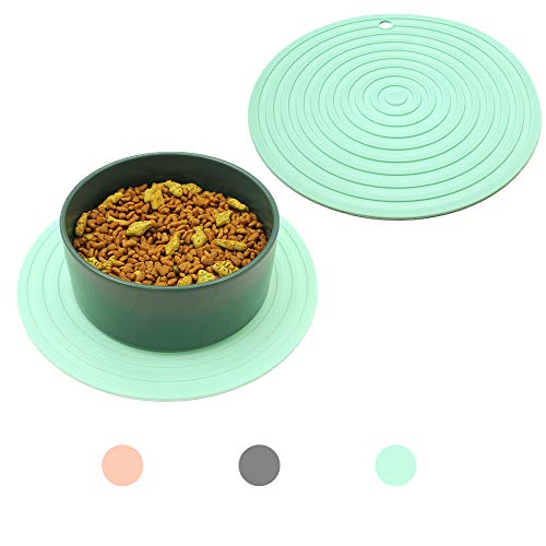 Ptlom Pet Food Mat for Dog and Cat Placemat 2 Pcs, Mat for Prevent Food and Water Overflow, Suitable...