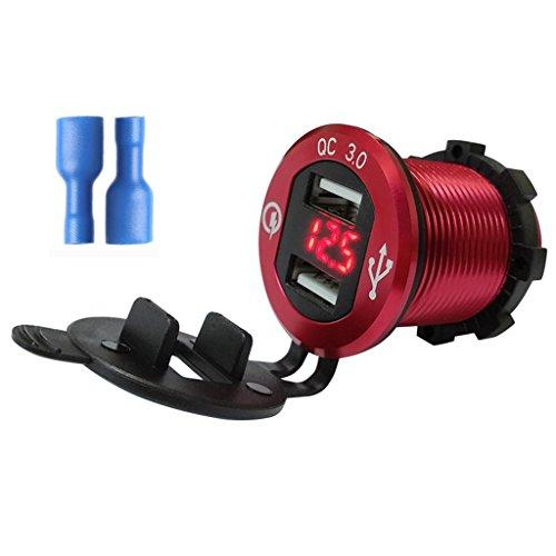 JHD Voltímetro LED del Cargador USB del Coche 2 del Barco de la Motocicleta del Aluminio del Control de Calidad 3.0 para la Tableta del teléfono