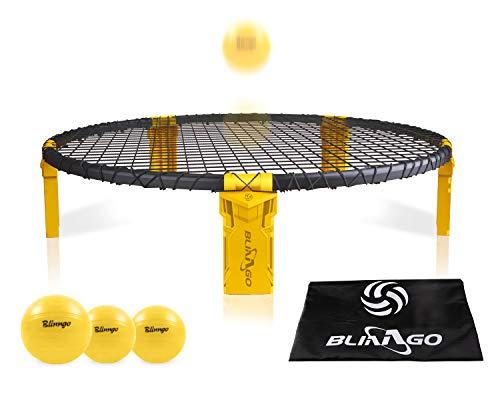 Mookis Blinngoball Spike Games Set bestehend aus Spielnetz, 3 Bällen, Kordelzug, Ballpumpe mit 1 Nadel und Handbuch