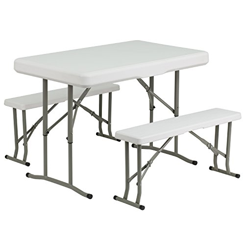 Flash Furniture Plastic Folding Table and Bench Set, DAD-YCZ-103-GG, Granite White
