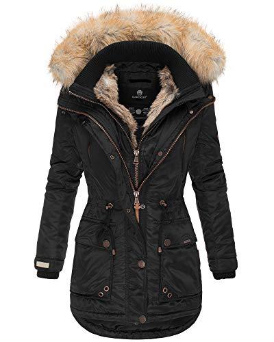 Marikoo Damen Winter Jacke Parka Mantel Kunst-Pelz Kragen Kapuze Warm NEU GRK103 (S, Schwarz)