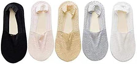 5 pairs Nylon Lace Invisible socks, No Show Socks, Low Cut Liner Non Slip Invisible Silicone non-slip lace socks for Woman