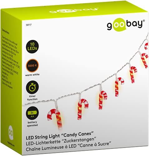 Goobay 58117 10 luces LED de bastón de caramelo, bastones de caramelo, luces navideñas de bastón de caramelo, brillo blanco cálido, función de temporizador, rojo, blanco,