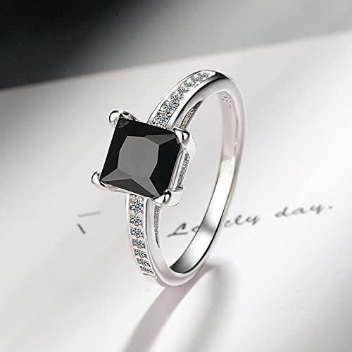 LINYIN 2pcs Cuatro Puntas Cuadrado Diamante Zircón Princesa Anillo Cross-Border Ring Pulsera Hombres y Mujeres Pareja Anillo Plata 10# Black Diamond