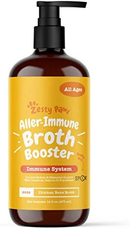 Zesty Paws Allergy Immune Bone Broth Food Topper for Dogs with Omega 3 Salmon Oil EpiCor Colostrum product image
