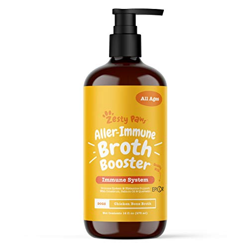Zesty Paws Allergy Immune Bone Broth for Dogs - with Omega 3