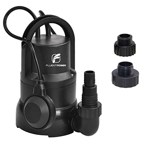 FLUENTPOWER 1/3 HP Electric Submersible Small Utility Drain Water Pump, with Side Discharge for Clean Water, 3/4' Garden Hose Connector Included