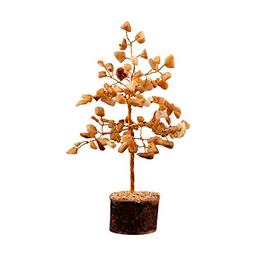 FASHIONZAADI Yellow Aventurine Feng Shui Bonsai Money Tree Healing Crystals Gemstone Trees Natural Stone Home Office Table Décor Health Prosperity Size 7-8 inch (Golden Wire)