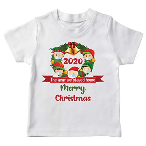 lepni.me Kids T-Shirt Merry Christmas in Quarantine 2021 Stay at Home Together for Xmas Holidays (1-2 Years White Multi Color)