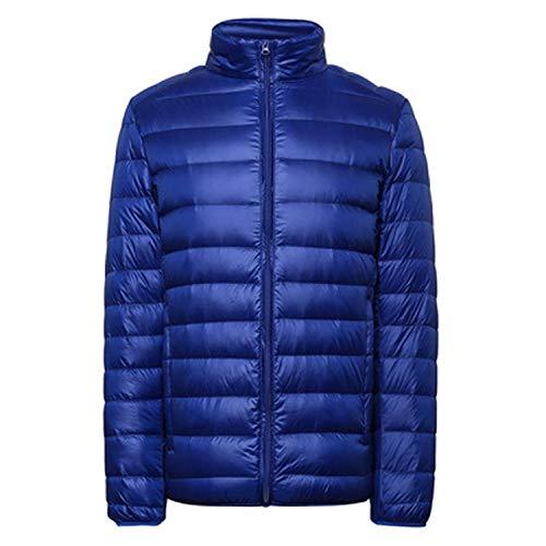 LANBAOSI Doudoune Légère Homme Printemps ou Automne Veste Compressible en Duvet de Canard Manches Longues Down Jacket Courte Blouson Bleu L